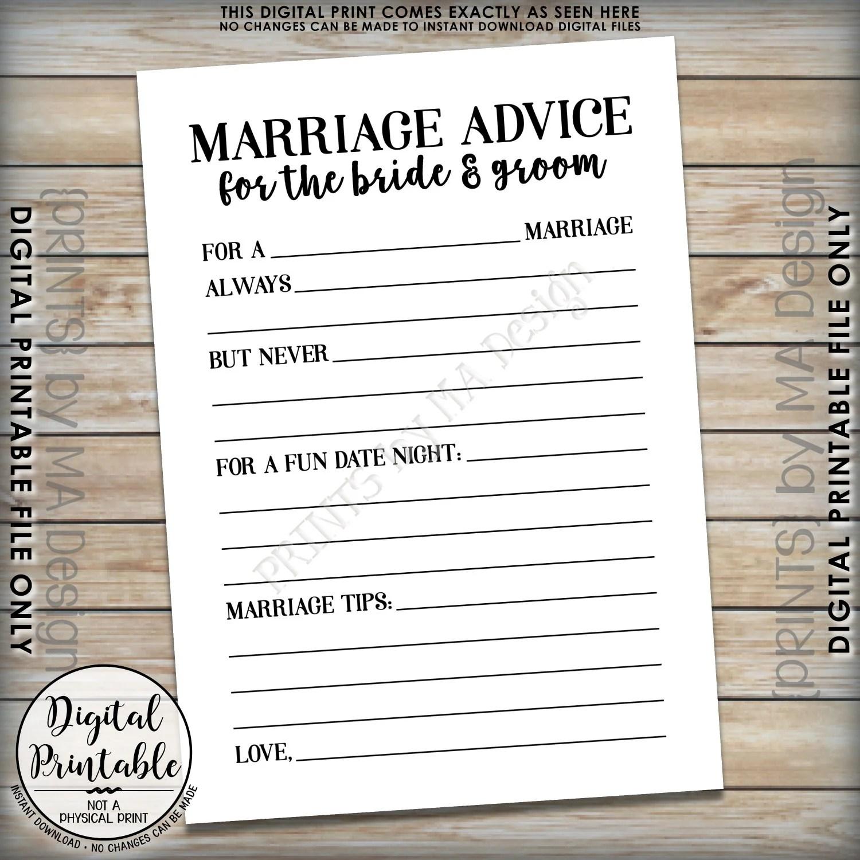 Marriage Advice Cards Bride Amp Groom Advice Wedding