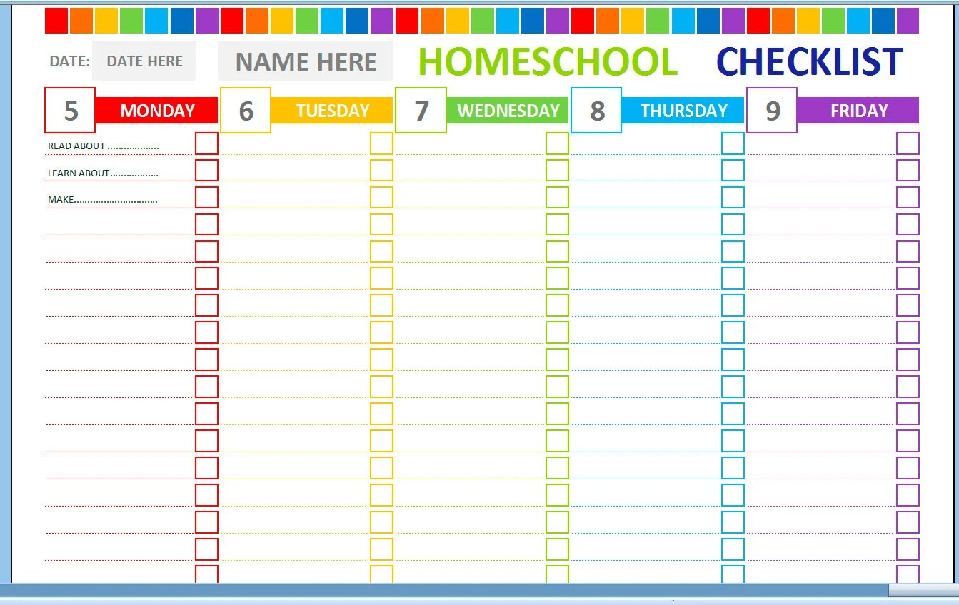 Weekly Homeschool Cheklist Homeschool Planner Homeschool