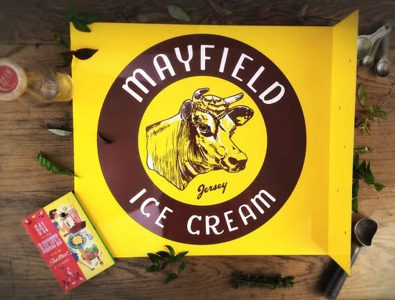 Vintage Flange Sign Mayfield Ice Cream Sign Retro Mid