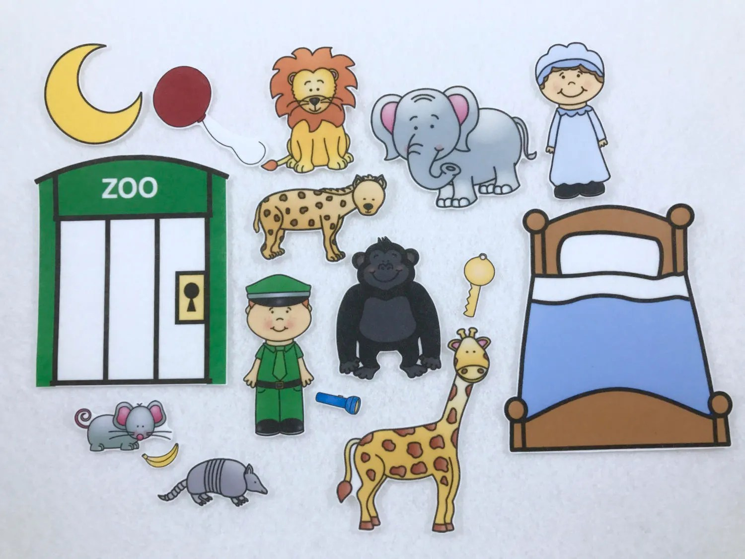 Gorilla And Zoo Friends Goodnight Felt Board Story Speech