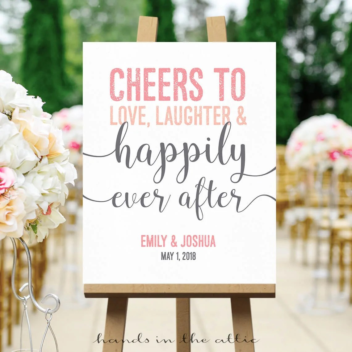 Download Cheers to love laughter & happily ever after wedding sign