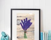 Flower Art Print. Lavende...