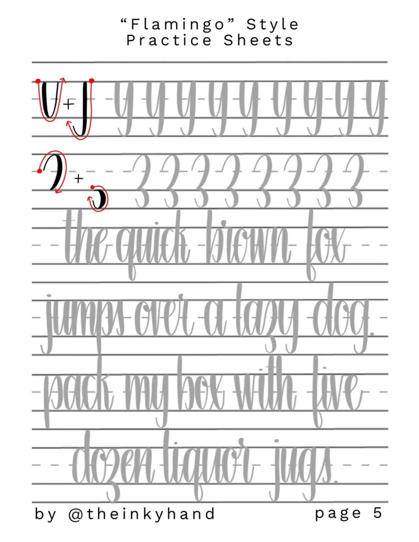 Flamingo Style Brush Calligraphy Practice Sheet Set