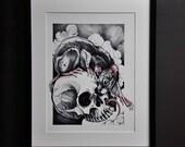 Rat Skull Print, A3, Colo...