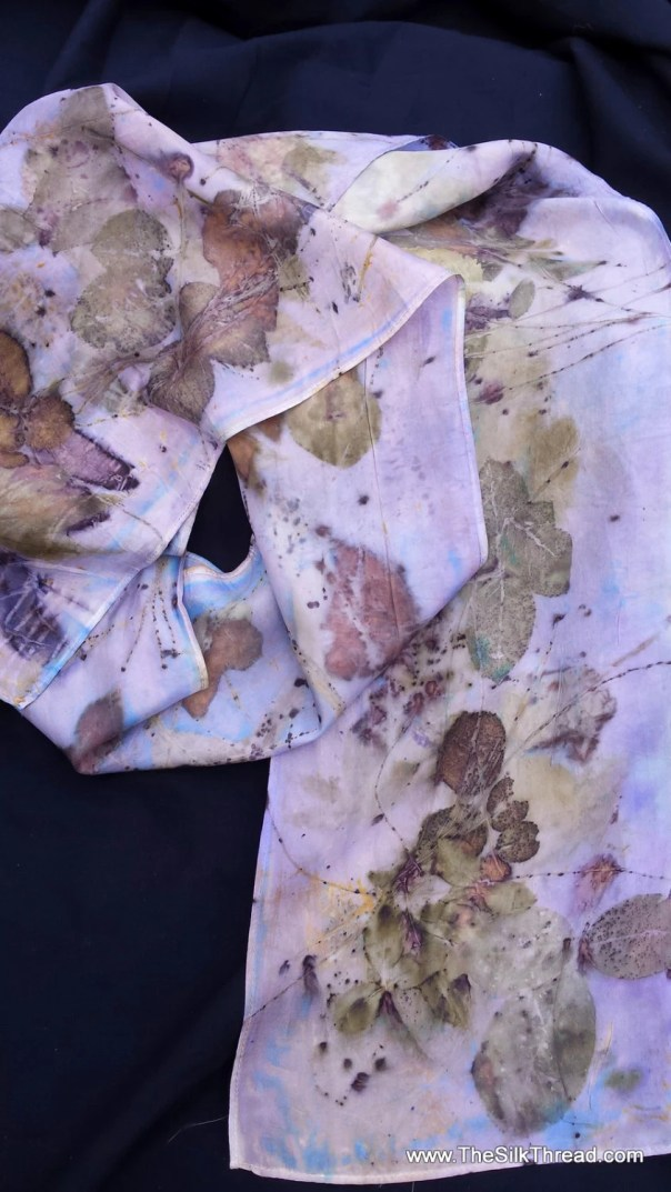 "Silk Scarf, soft lavender, leaf designs & colors imprinted from actual plants, 8"" x 72"", Organic, sustainable silk art by artist, OOAK"