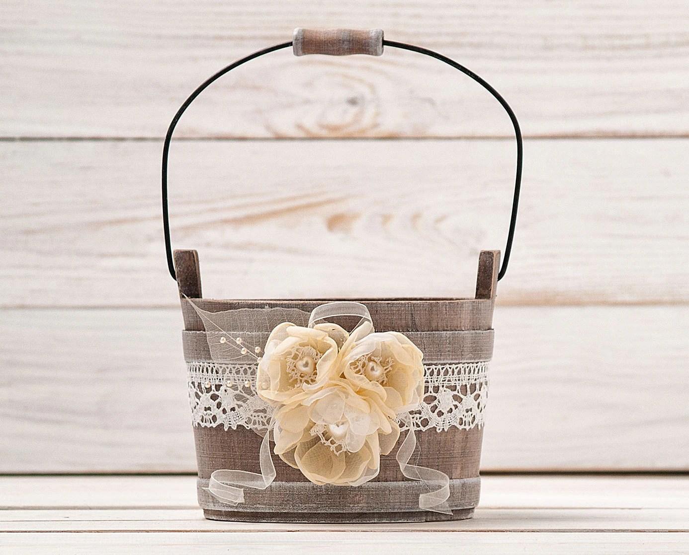 Flower Girl Basket Ivory Wedding Basket By