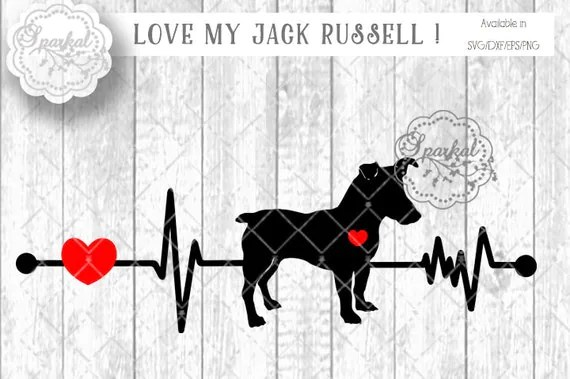 Download Love My JACK RUSSELL DOG Svg Cut File Heartbeat Stencil Heart