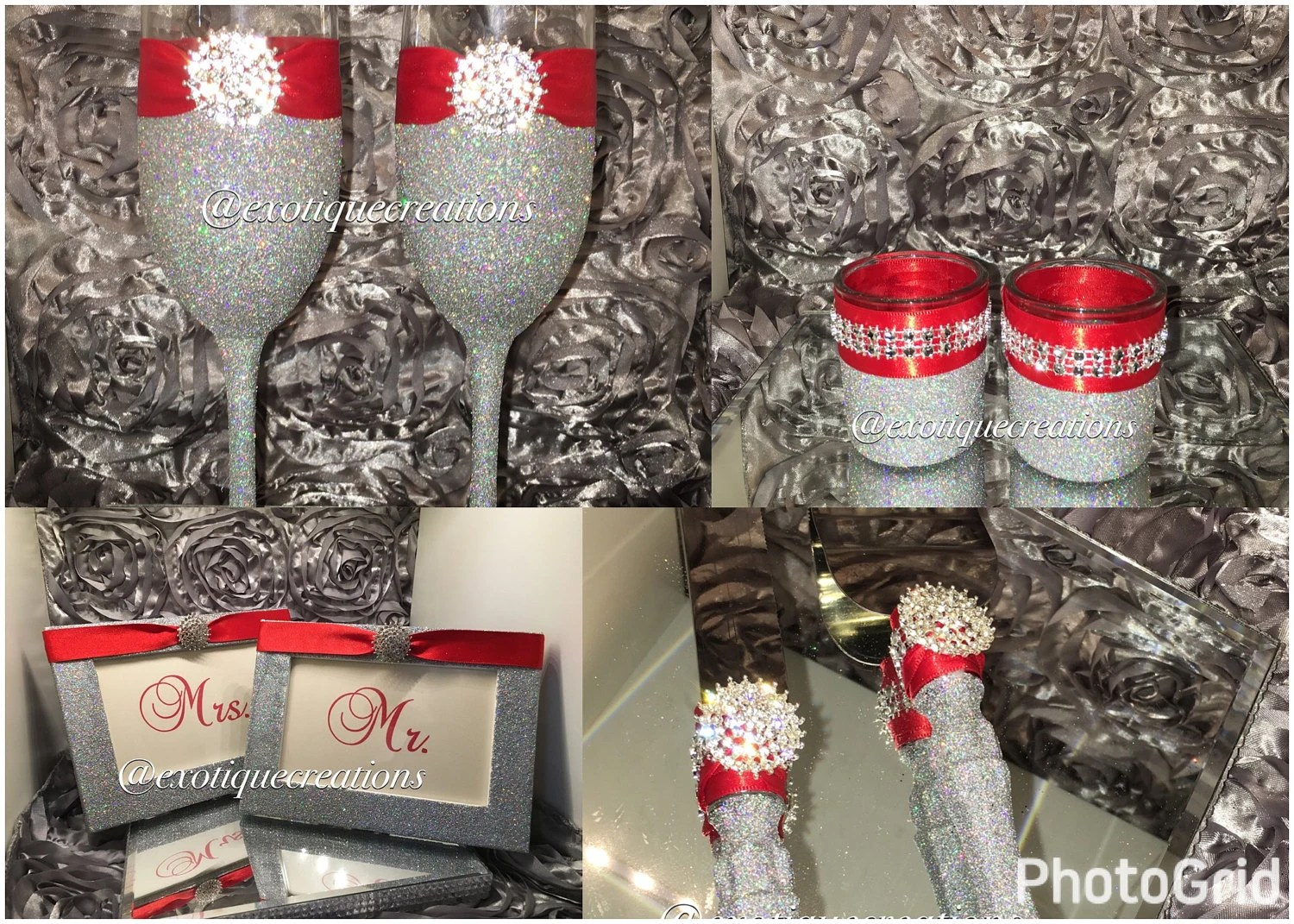 Silver Bling 8pc Wedding Set With Red Ribbon Bride And Groom
