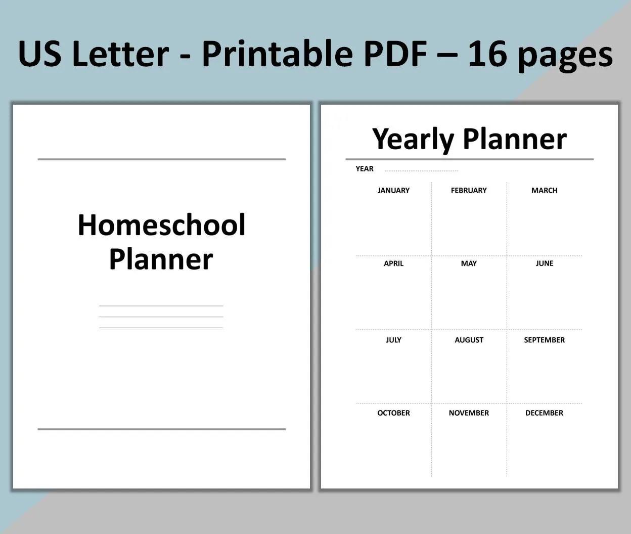 Homeschool Planner Printable School Planner Lesson Planner