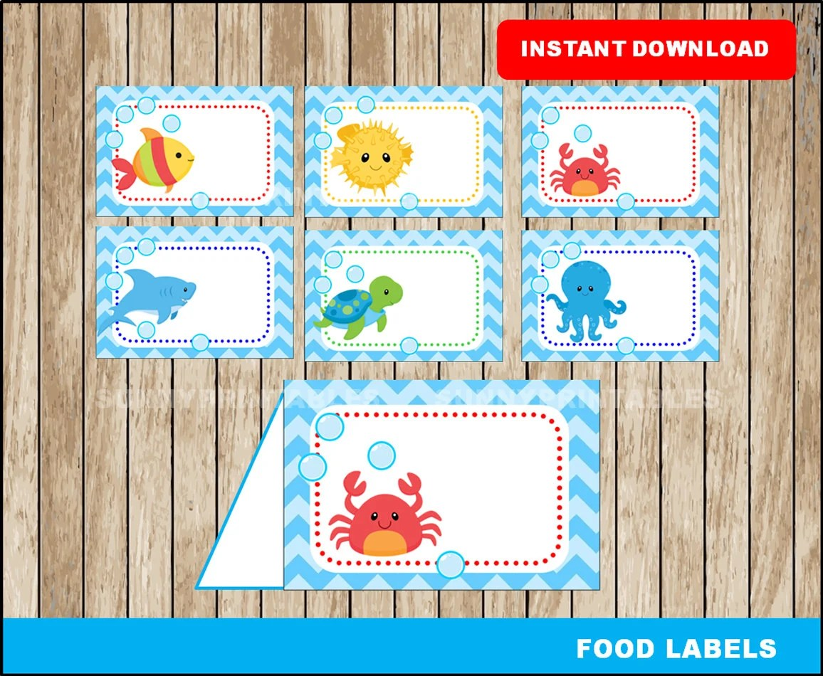 Under The Sea Food Labels Printable Under The Sea Tent Cards