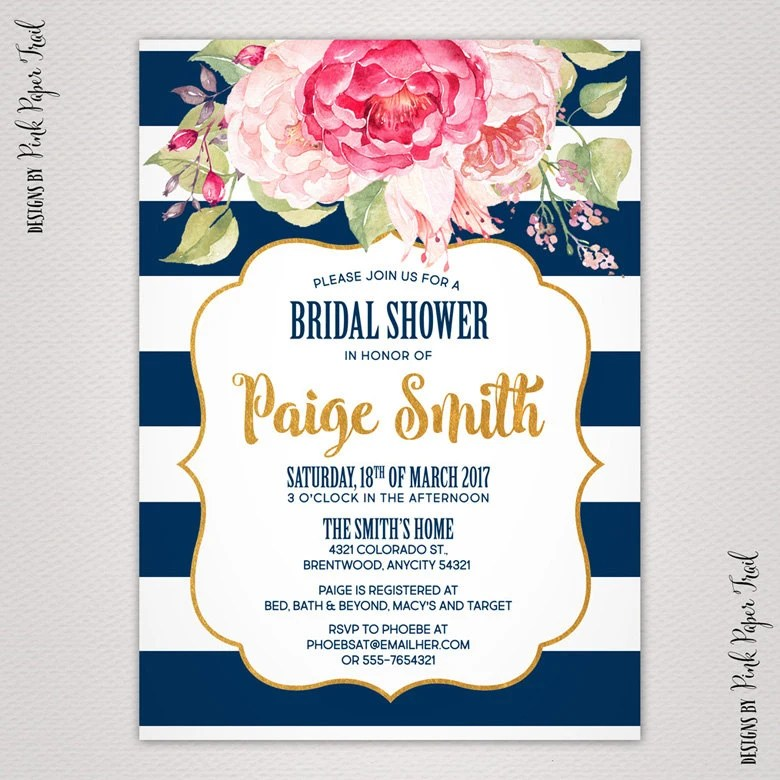 Pink And Navy Bridal Shower Invitations