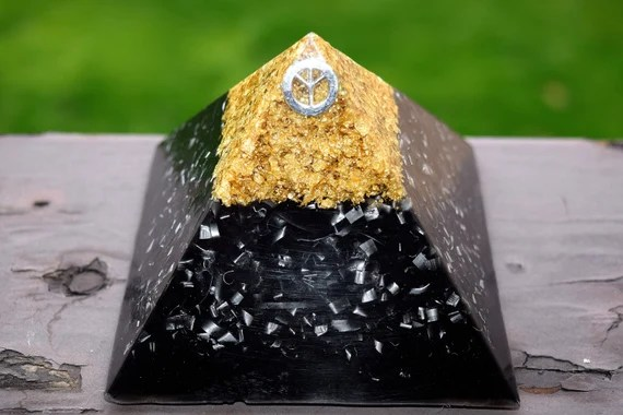 15% Off Today Only! Large Black and 'Gold' Peace Sign Orgone Pyramid
