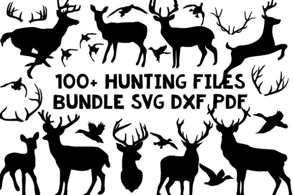 Download hunting deer duck bundle silhouette svg dxf file instant