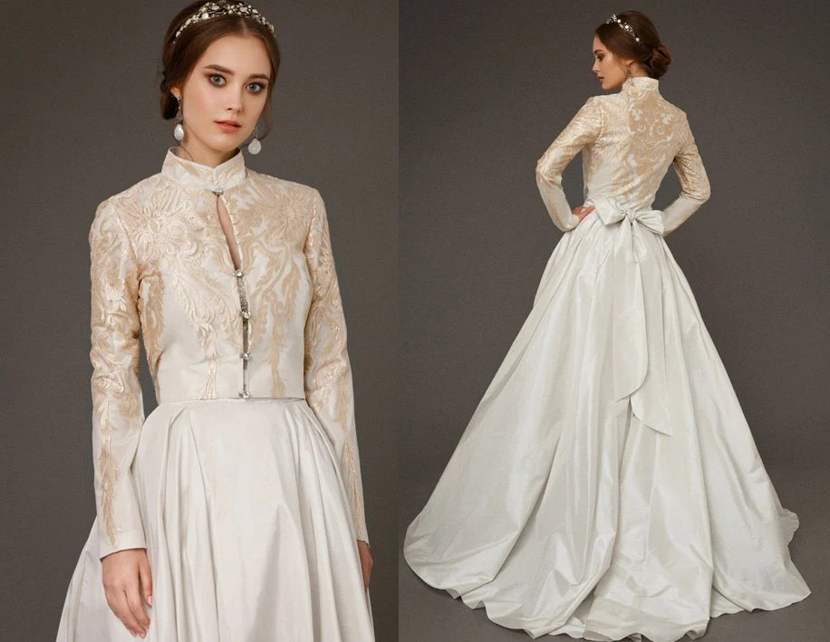 ERLIYA / Royal Luxury Quinceanera Wedding Dress With Gold Lace