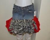 Upcycled denim mini skirt...