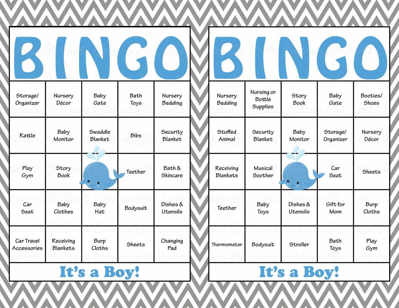 30 Whale Baby Shower Bingo Cards Prefilled Bingo Cards Boy