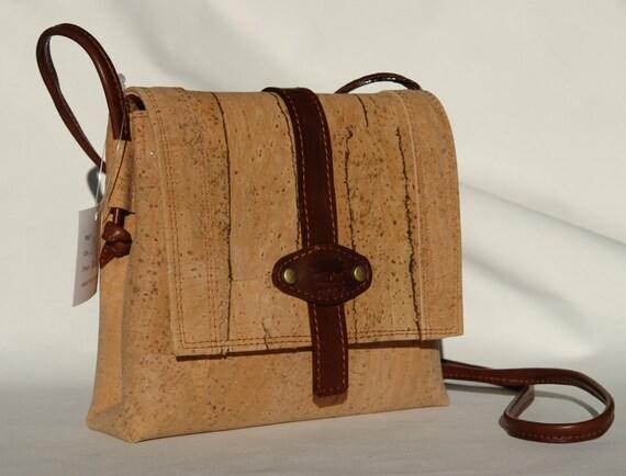Cork And Leather Shoulder Handbag/Purse