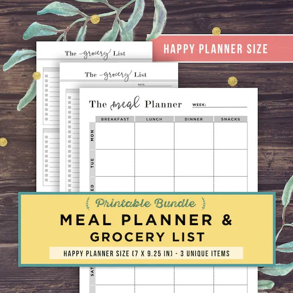 Mambi Planner Inserts The Happy Planner Meal Planner
