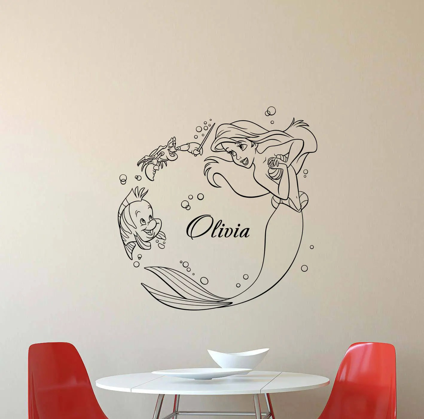 Mermaid Wall Decals E A Sleeps Here Vinyl Decal