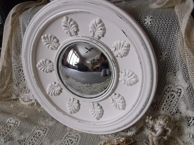 Round Metal Convex Mirror Shabby White Large Mirror
