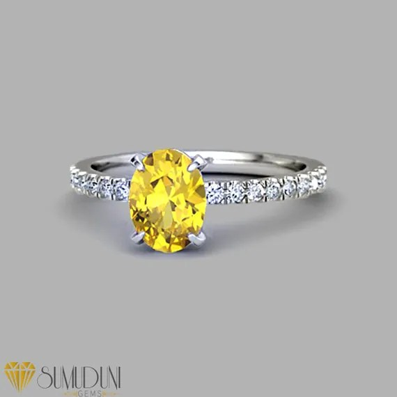 2 carat Oval yellow sapphire ring