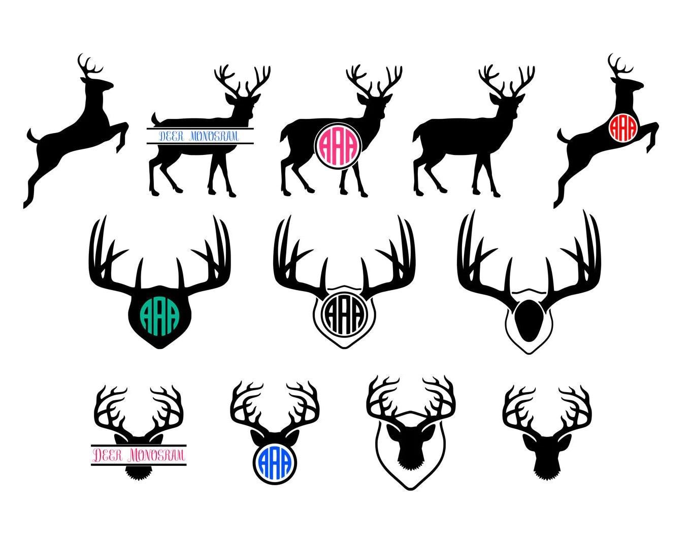 Deer Monogram Svg Antler Clipart Vector Deer Head Skull