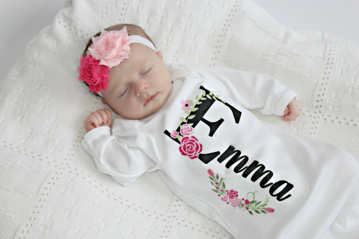 Baby Girl Clothes One Piece Embroidered With I Make By