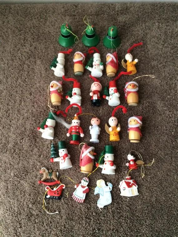 Wooden Christmas Ornaments MINI Vintage Huge Lot