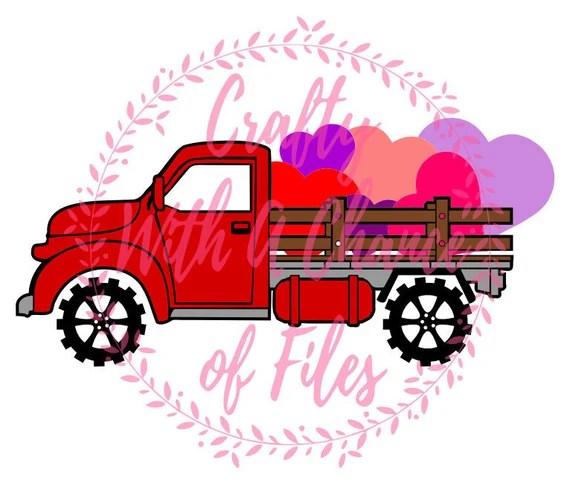 Download Valentine Vintage Truck SVG Valentine's Day SVG Hearts SVG