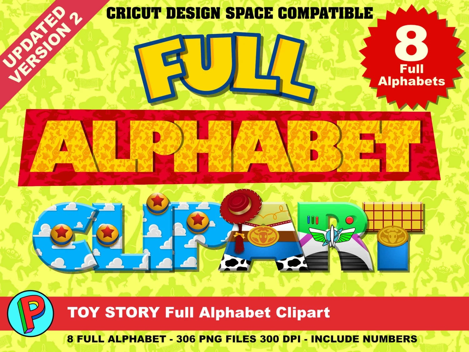 Toy Story Full Alphabet Clipart 8 Alphabets 8 Designs
