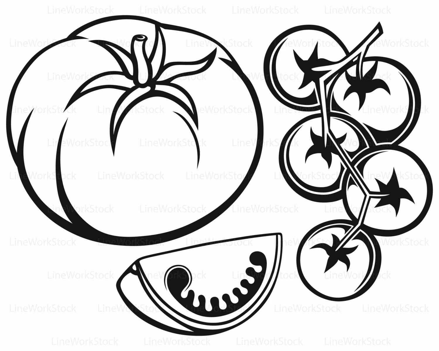 Tomatoes Svg Clipart Vegetables Svg Silhouette Tomatoes