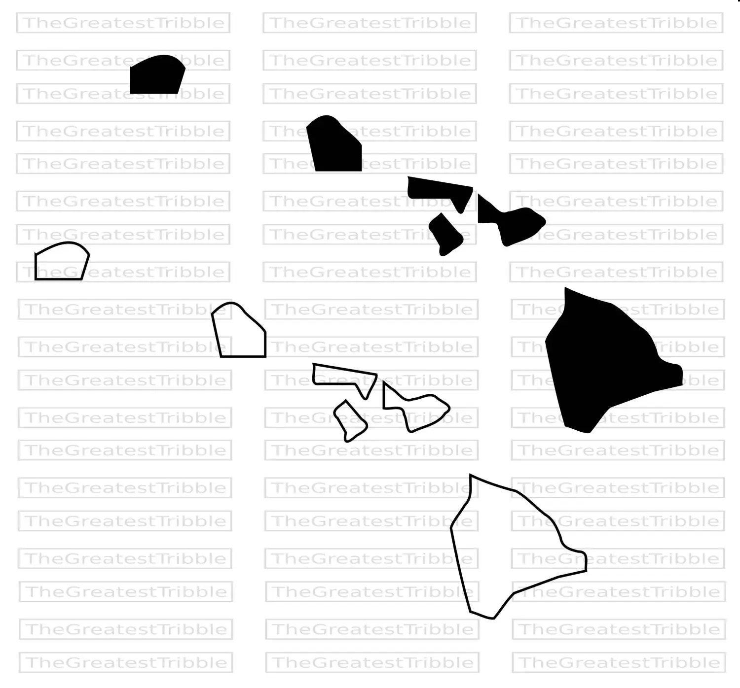 Hawaii State Map Svg Vector Graphic Clip Art