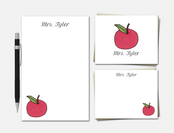 Traditional Apples for Teacher Stationery Set