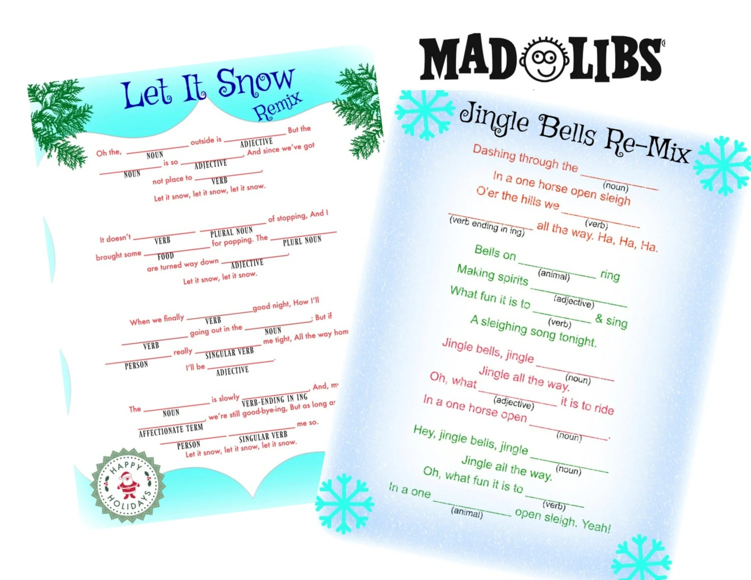 Holiday Game Mad Libs Let Is Snow Amp Jingle By