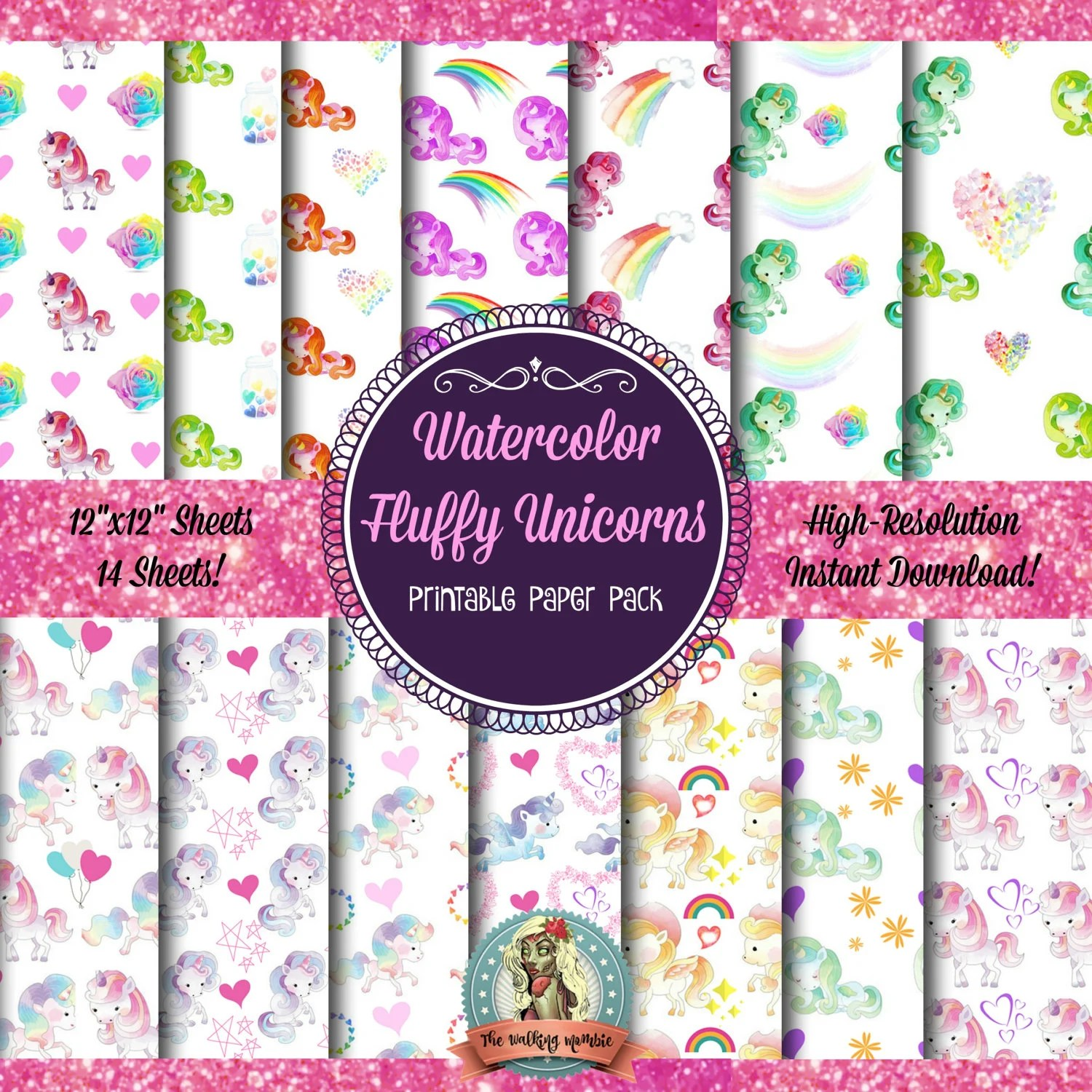 Unicorn Scrapbook Paper Unicorn Digital Paper Unicorn