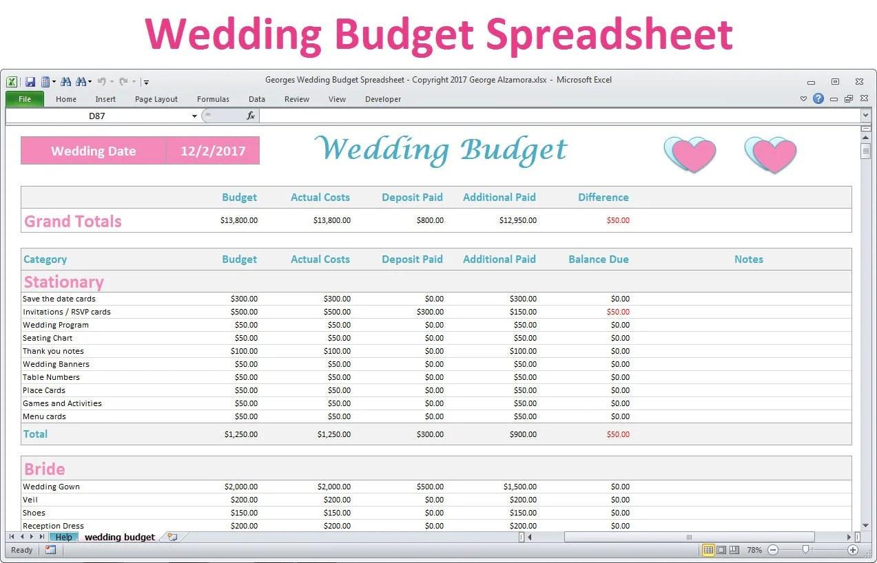 Wedding Budget Spreadsheet Planner Excel Wedding Budget
