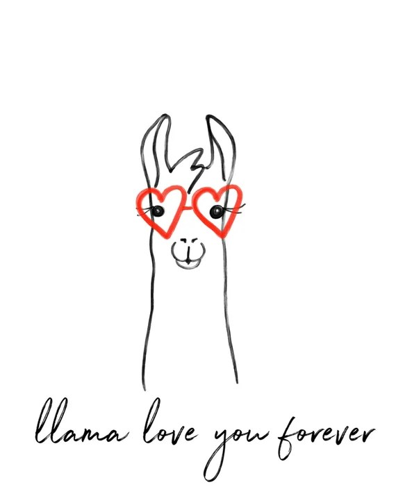 Download Llama love you forever llama nursery print llama print
