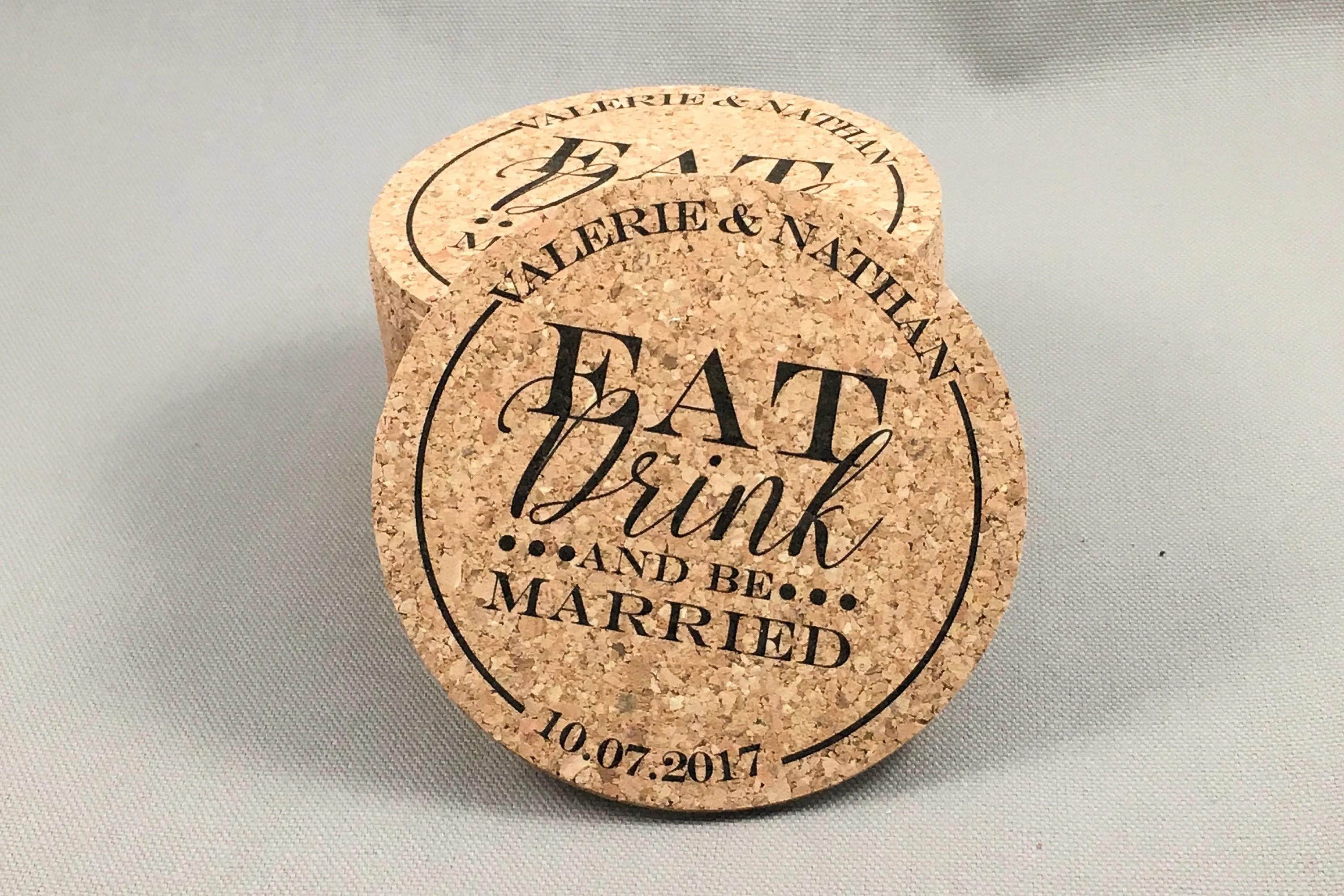 Eat Drink And Be Married Wedding Cork Coaster Favors