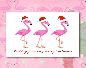 Flamingo Christmas Cards Tropical Christmas 10 Per Greeted