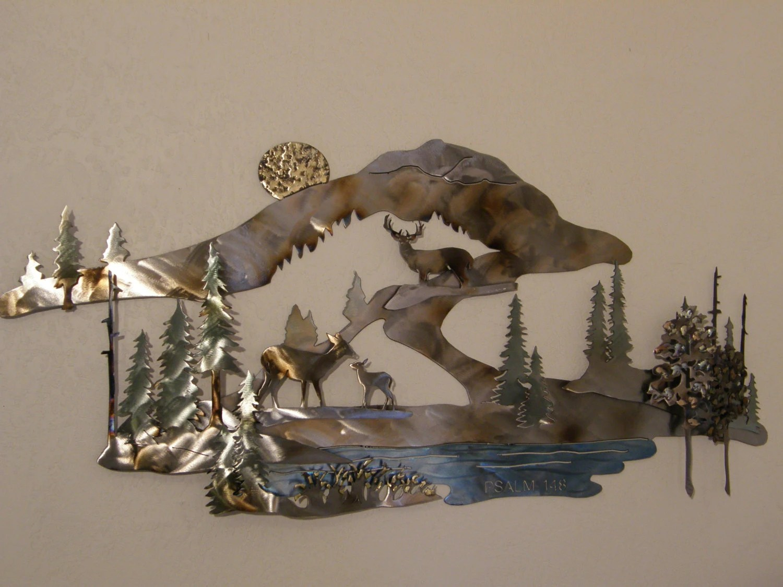 Custom Designed Metal Wall Sculpture Of Deer In Mountain