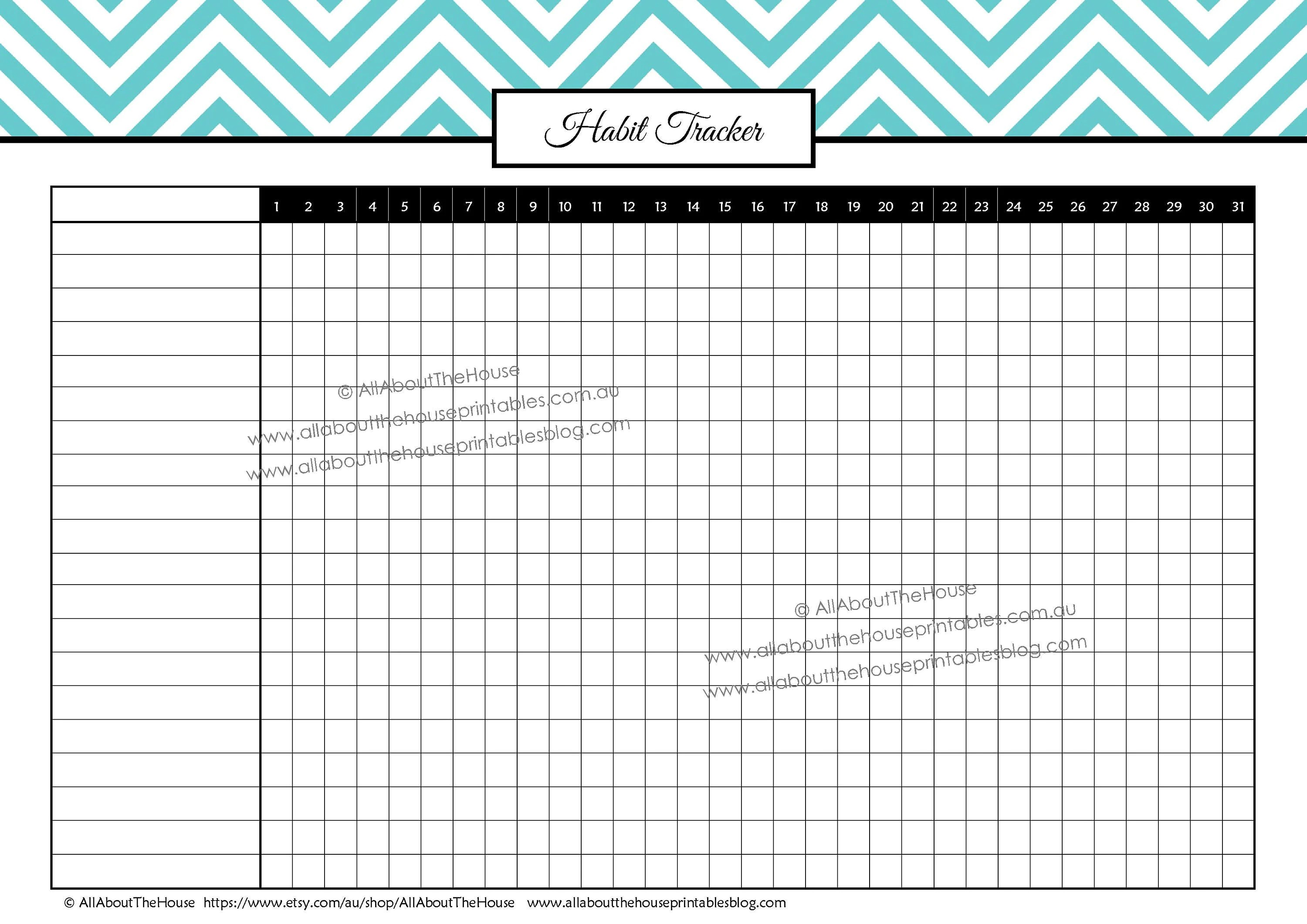 Habit Tracker Printable Routine Tasks Log Cleaning Chores