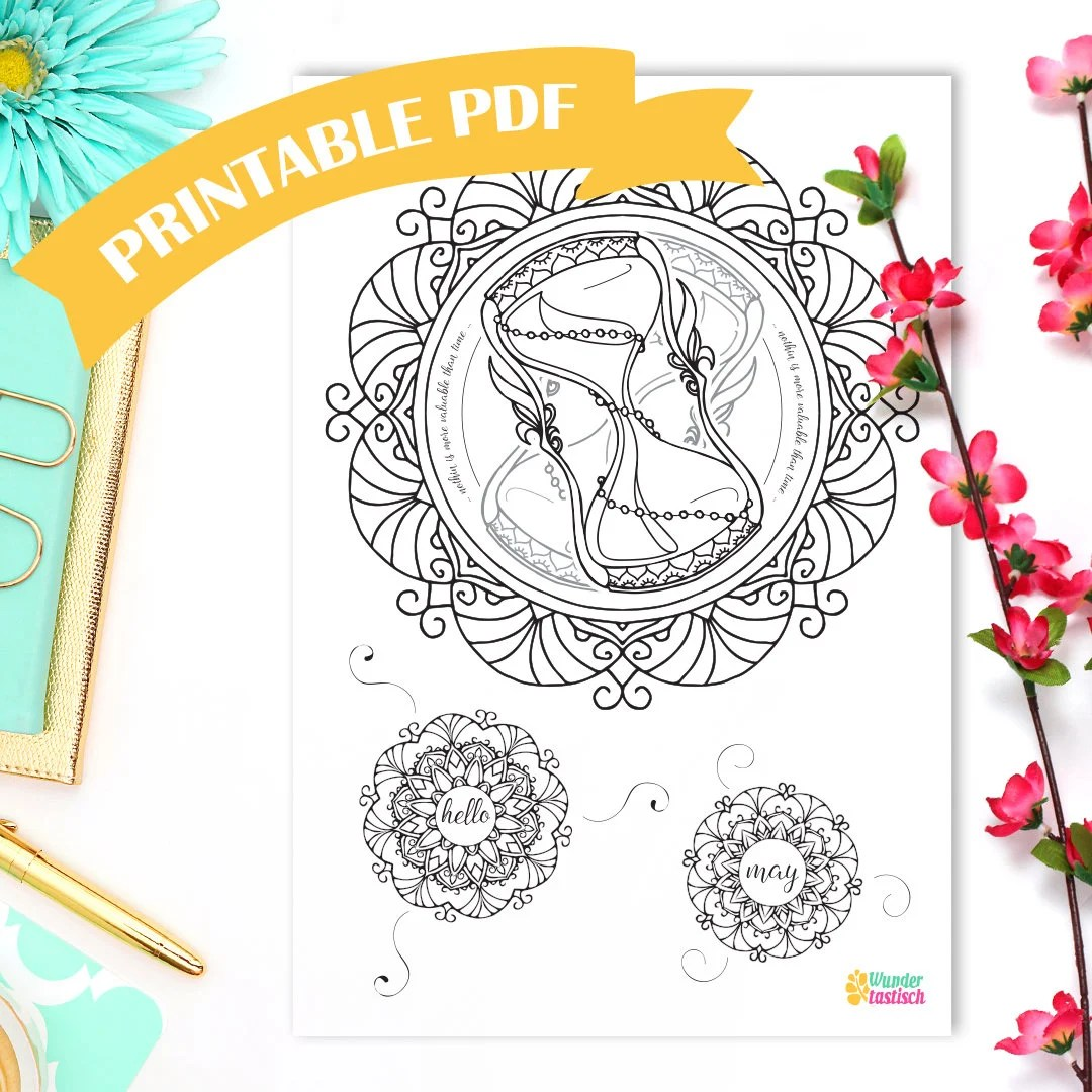 Coloring Page Hello May Monthly Bullet Journal Printables