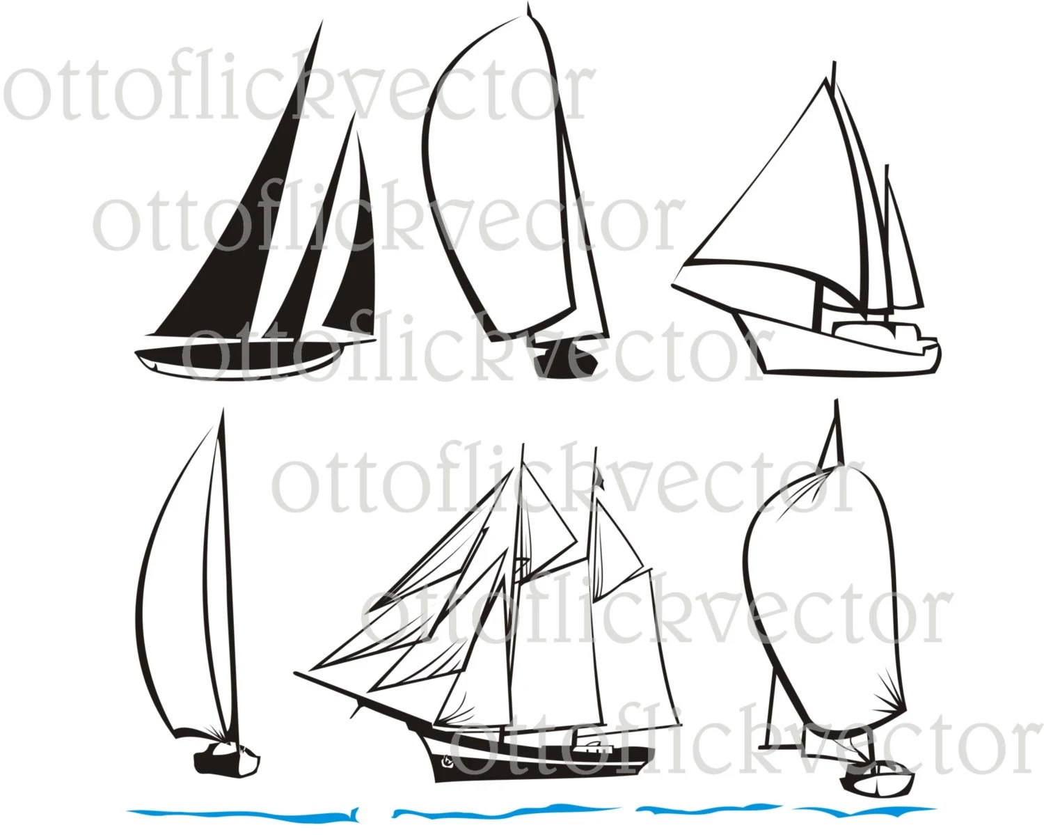 Yacht Boat Sail Vector Silhouette Vector Cliparts Eps Ai