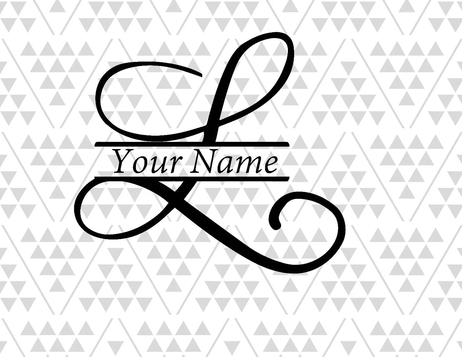 Monogram Letter L Split Letter L Silhouette Files Digital