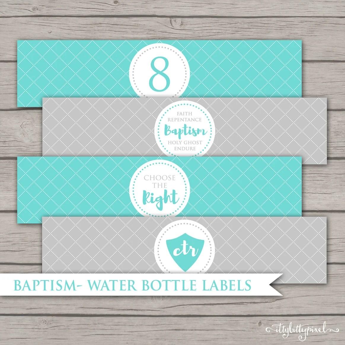 Baptism Water Bottle Labels Lds Digital Printable Party