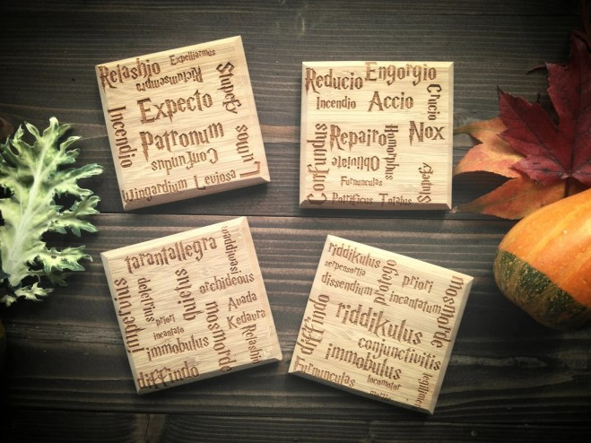 Set of Harry Potter Charm Coasters, 4 x 4 x 1/4 inch bamboo, Spells, Free Engraving Included! Beautiful Wood!