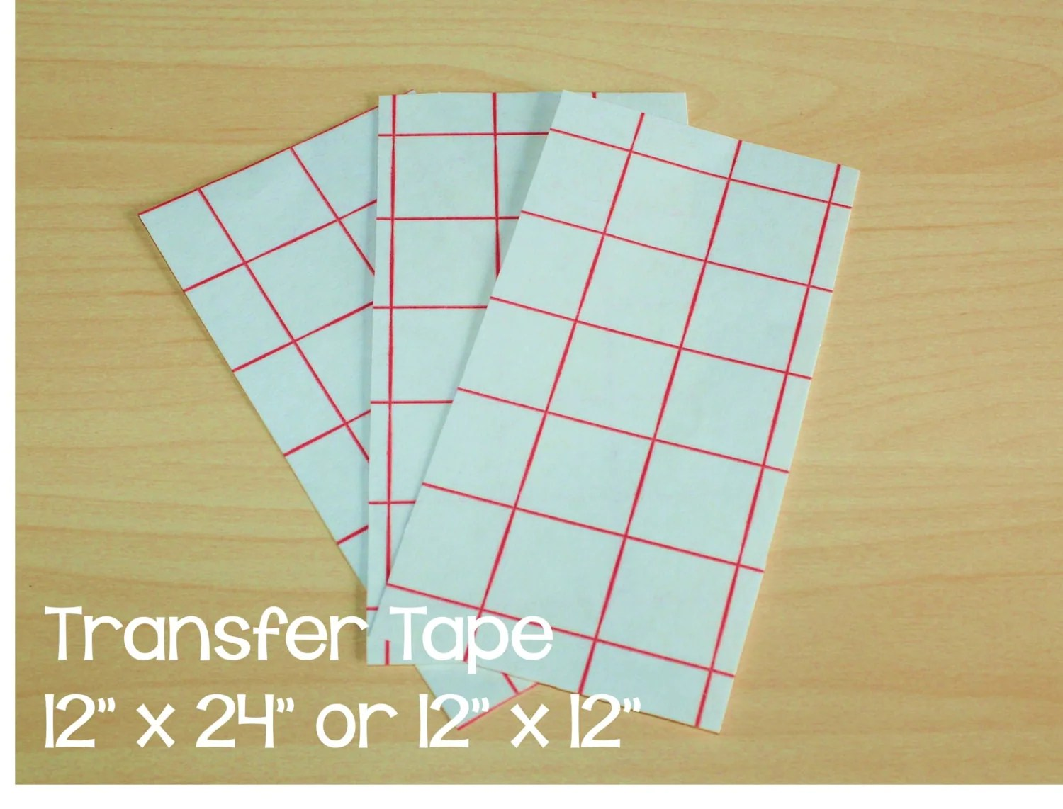5 Red Grid 12 X 24 Or 12 X 12 Transfer Tape Paper By
