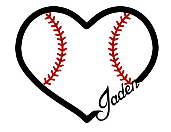 Download Heart of Baseball Custom Name svg file