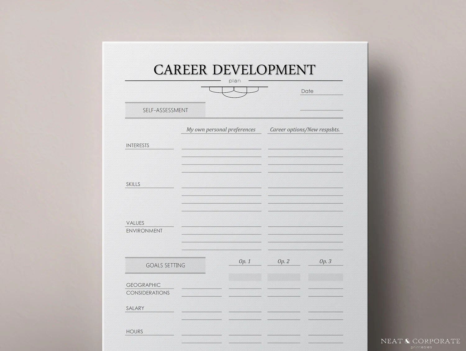 Career Path Worksheets Printable Planner Pages In Several