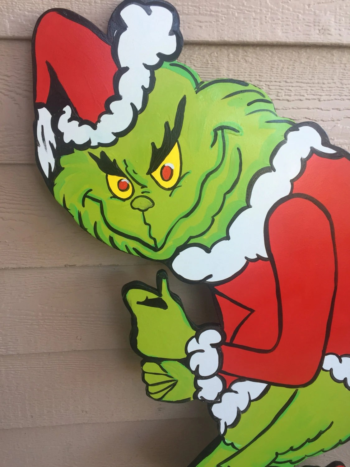 Grinch Cutout Wood Grinch Cutout Outdoor Grinch By